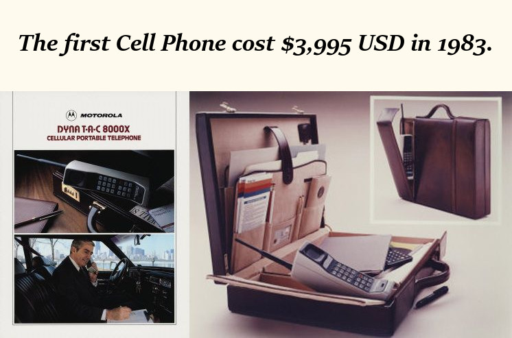 The cost of the first cell phone